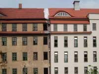 alte und neue Fassade nebeneinander